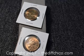 2 Un-Circulated Sacagawea Coins
