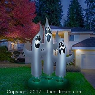 10ft Inflatable Ghost Family With Built In Fan And Anchor Ropes
