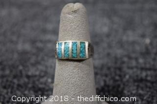 Silver & Turquoise Ring-Size 7 1/2