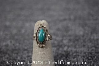 Silver & Turquoise Ring - Size 5 1/2