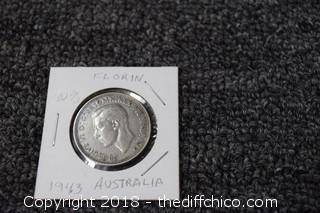 1943 Australia Florin 90% Silver