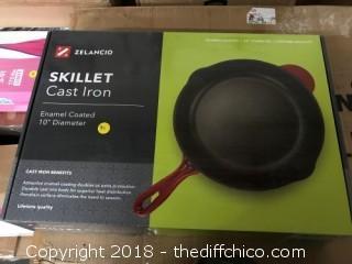 Zelancio Cast Iron Enameled 10 Inch Skillet - Teal (0031)
