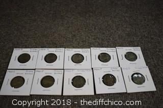 10 Vintage Nickels