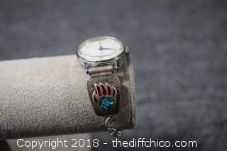 Watch w/Coral & Turquoise Inlay Watch Band