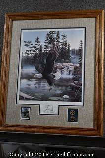 Signed, Framed Print w/Coins & Stamp