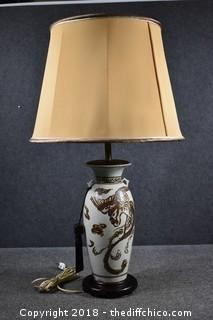 Working Oriental Style Lamp w/Shade