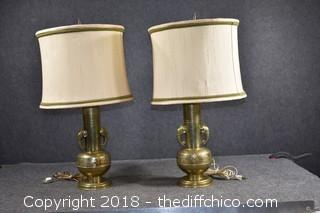 Working Brass Elephant Lamps w/Shades