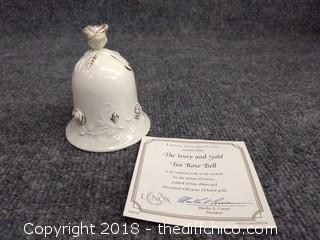 Lenox Collections Ivory and Rose Tea Bell, Porcelain with 24 k Gold Trim with Certificate of Authenticity - Mint Condition