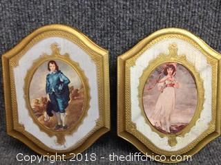 """Boy Blue"" and ""Pinkie"" Small Italian Prints - Vintage - 5"" x 6.5"""