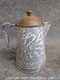 "Graniteware Coffee Pot - Vintage - 8.5"" Tall"