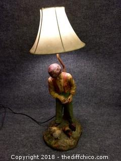 Chalkware Lamp c. 1930's/40's - Very Heavy - Working - Vintage