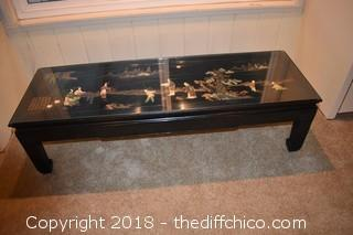 Oriental Inlaid Coffee Table w/Glass Top