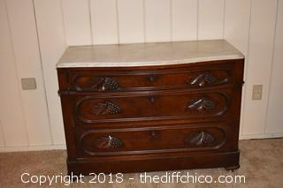 Vintage 3 Drawer Marble Top Dresser