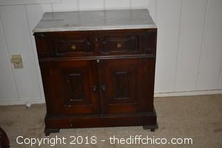 Marble Top Cabinet w/Drawer & Storage