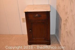 Marble Top Nightstand-Marble corner has been repaired
