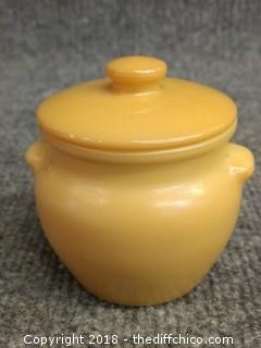 Dutchess Cheese Vintage Small Milk Glass Crock with Lid