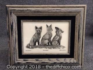 """Montana Marble Art by Bernie Brown - 3 Wolves Etched on Marble in Wood Frame - 13.5"""" x 11"""""""