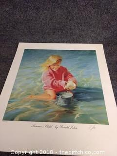 """""""Summer's Child"""" by Donald Zolan Lithograph - Signed and Numbered - 19.5"""" x 22"""""""