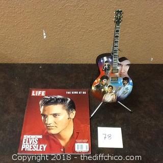 elvis presley light up guitar and magazine