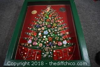 Hand Made Jewelry Christmas Tree in Case