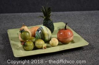 Platter w/Soap Stone Fruit