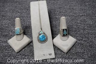 2 Rings & Pendent - Ring Size 12 & 12 1/2
