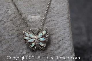 .925 Butterfly Necklace w/Opal Wings-right wing missing opal