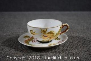 Oriental Tea Cup & Saucer-Picture on bottom of cup