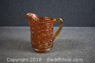 Awesome Marigold Imperial Glass Rose Lustre Carnival Glass Pitcher