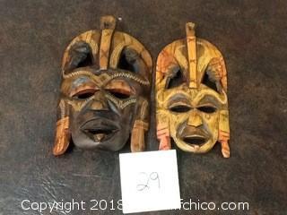 vinatge african wooden masks