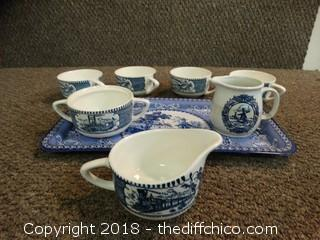 Blue and White Dishes With Daher Decorative Tray