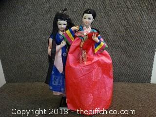 Oriental Dolls On Stand