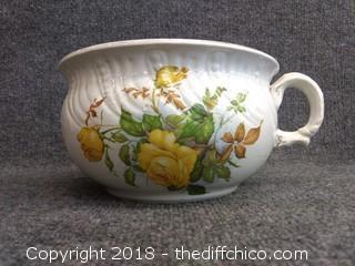 "Ceramic Chamber Pot - Vintage - 9"" x 5.5"" Tall"