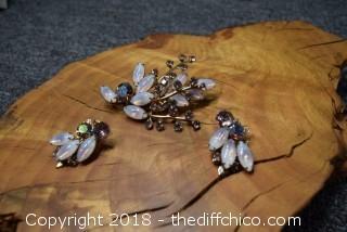 Vintage Pin & Matching Earrings