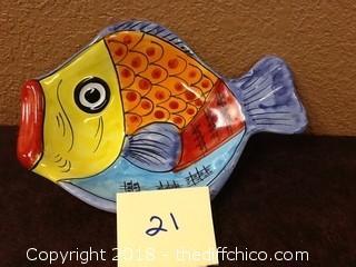 hand painted italian fish dish