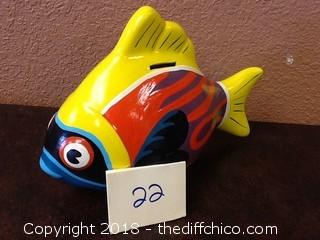 hand made and painted fish piggy bank