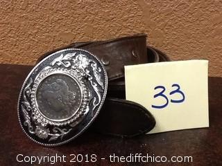vintage silver dollar belt
