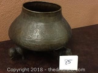 ornate elephant brass pot