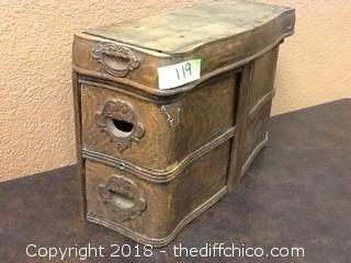 antique wooden 3 drawer organizer