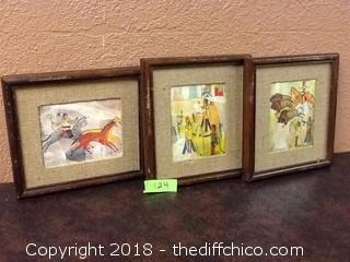 3 vintage native american framed illustrations