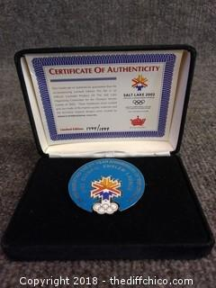 Salt Lake 2002 Olympic Pin With Certificate of Authenticity