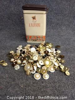 Vintage Button Lot with Tin