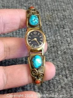 Vintage Sterling Silver Timex Watch with Turquoise and Coral Stone Rod