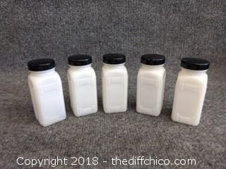 """Milk Glass Spice Jars with Black Lids (5) - 4 1/4"""" Tall"""