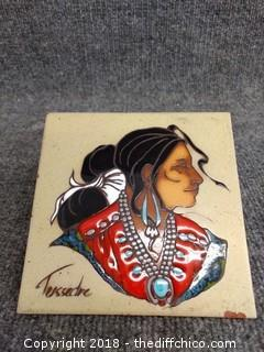 """Hand Painted Ceramic Tile by Cleo Teissedre - 6"""" x 6"""""""