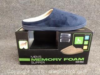 Men's Memory Foam Slippers - Size L - NEW