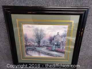 "Thomas Kinkade ""Lamplight"" Framed Lithograph - 22.5"" x 21"""