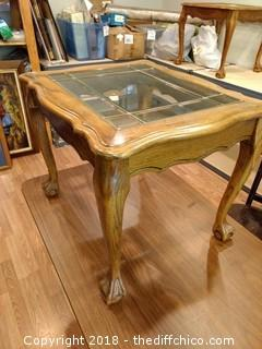 """Wood and Glass Side Table - 28"""" x 24"""""""