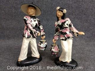 """Vintage Asian Statues - 13"""" and 12"""" Tall"""