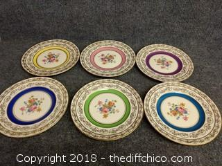 Mark and Rosenfield Hand Painted Gold Trim Flower Plates - Vintage (6)